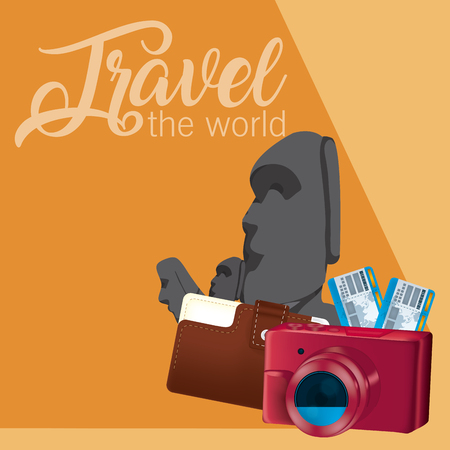 Travel the world card with rapa nui rocks and symbols vector illustration graphic design