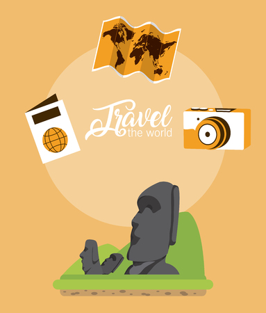Travel the world with rapa nui and symbols vector illustration graphic design