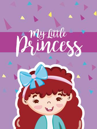 My little princess with beautiful girl cartoon vector illustration graphic design