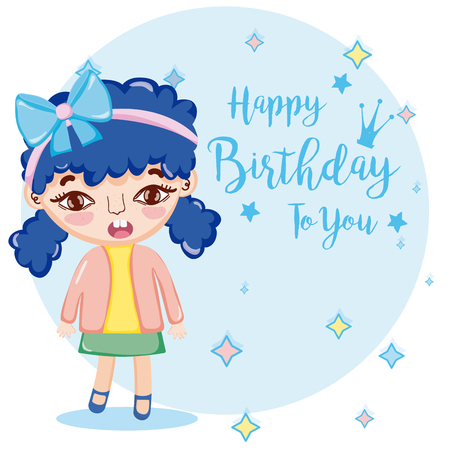 Happy birthday to you card with beautiful girl cartoon vector illustration graphic design Illustration