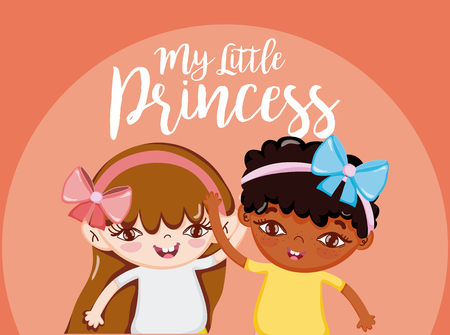My little princess cute girls friends cartoons vector illustration graphic design Ilustração