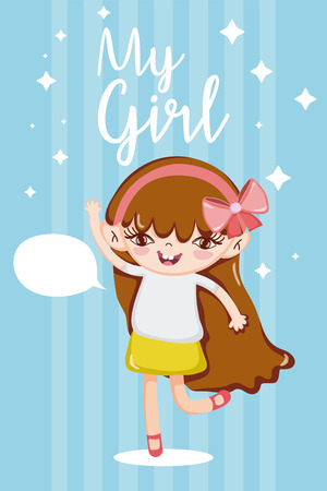 My beautiful girl talking with blank bubble speech cute cartoons vector illustration graphic design