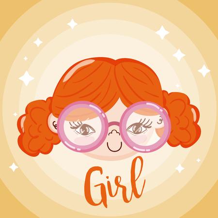 Beautiful girl face smiling over colorful background vector illustration graphic design Ilustração