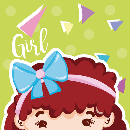 Girl beatiful face with confeti over colorful background vector illustration graphic design Illustration