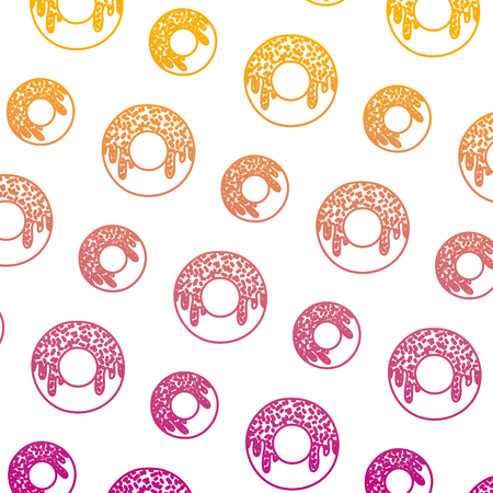 degraded line delicious donut sweet pastry background vector illustration