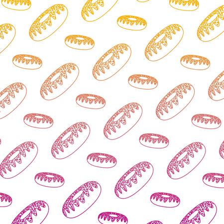degraded line delicious sweet donut snack background vector illustration Illustration