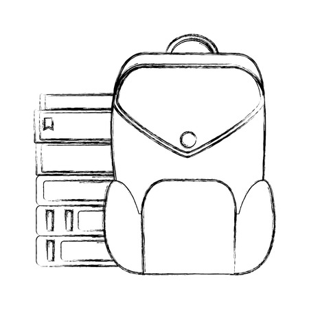 grunge education books with backpack school tools vector illustration