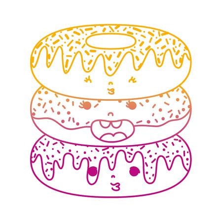 degraded line kawaii expression donuts sweet food vector illustration
