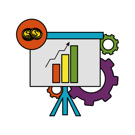 color statistics bar growing presentation with gears vector illustration
