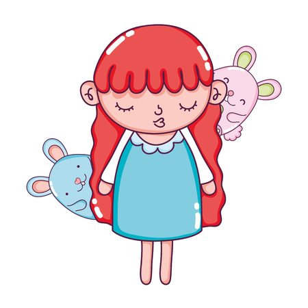 beauty girl child with mice animals vector illustration