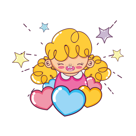 cute girl child with hearts and stars vector illustration