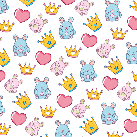 metal crown with heart and mice background vector illustration