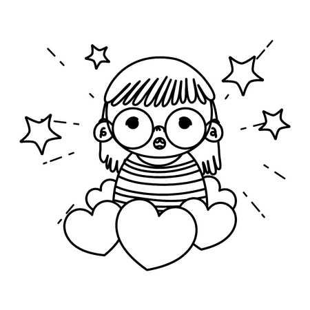 line girl child glasses with hearts and stars vector illustration