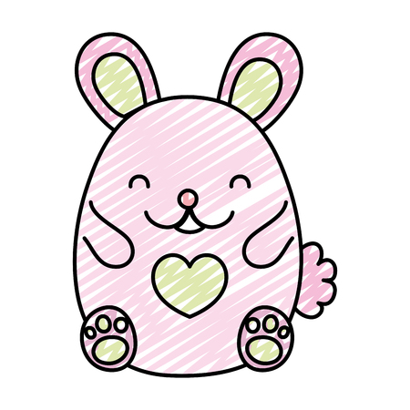 doodle cute mouse animal with heart design vector illustration