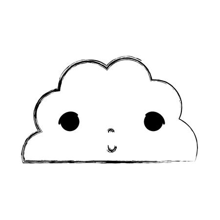 grunge kawaii cute fluffy cloud weather vector illustration