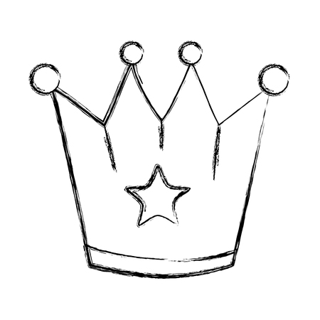 grunge metal crown object with stars design vector illustration