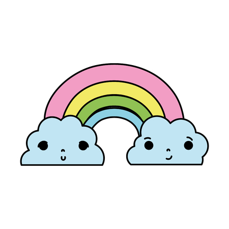 color kawaii cute rainbow and clouds weather vector illustration