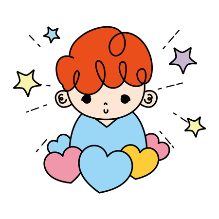 color cute boy child with hearts and stars vector illustration