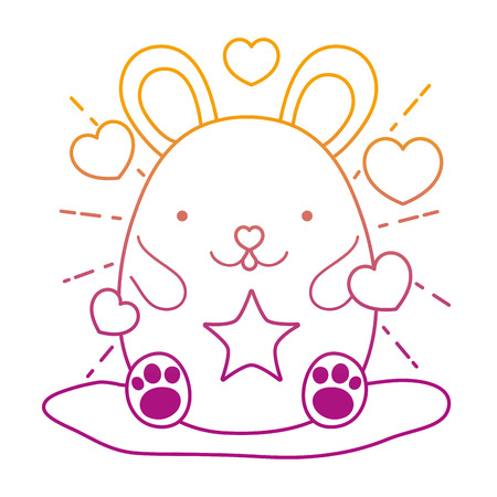 degraded line cute mouse animal with hearts and stars