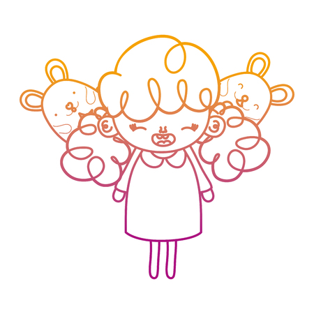 degraded line happy girl child with mice animals vector illustration