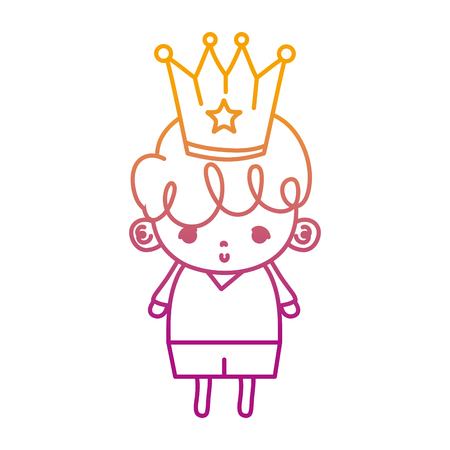 degraded line nice boy child with metal crown vector illustration