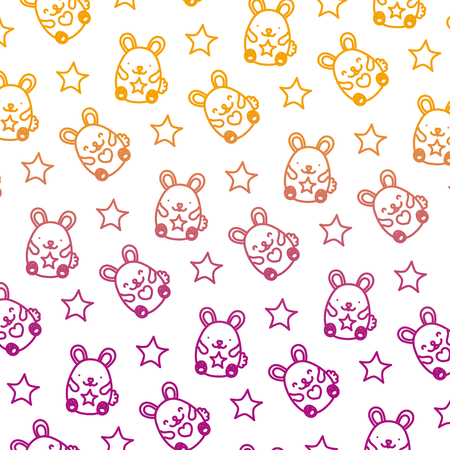 degraded line cute mice funny animals background vector illustration