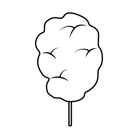 line sweet fluffy candy floss snack vector illustration Vektoros illusztráció