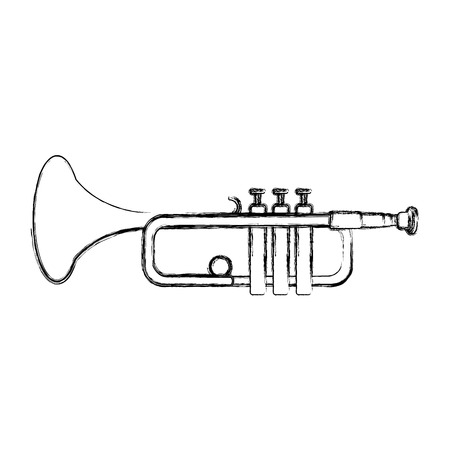 grunge music trumpet instrument artistic melody vector illustration