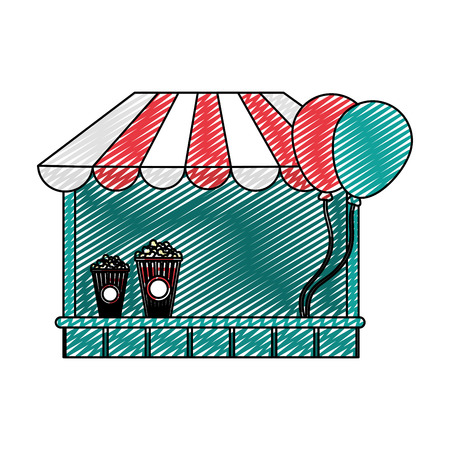 doodle carnival store festival with popcorn and balloons