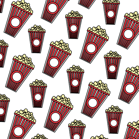 color delicious snack popcorn food background vector illustration