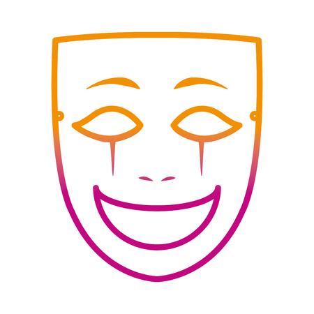 degraded line face mask entertainment carnival style vector illustration