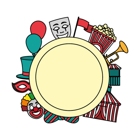 color circle emblem with carnival entertainment party