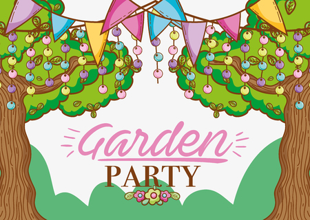 Garden party cartoons with pennants and trees vector illustration graphic design