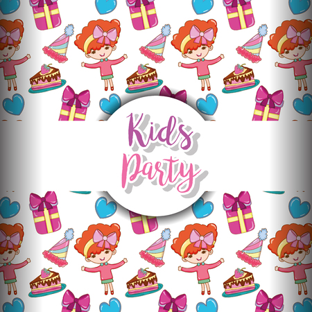 Kids party cartoons pattern background vector illustration graphic design