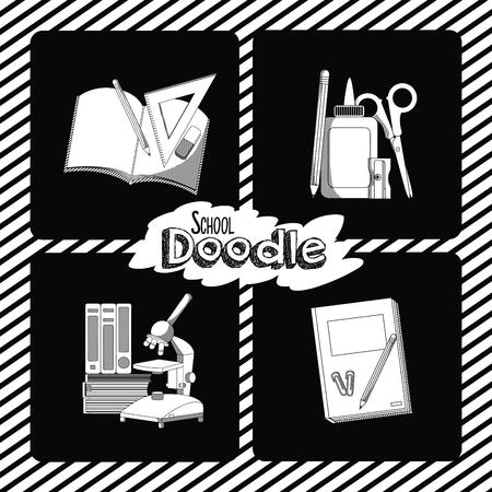 Set of school doodle and supplies cartoons collection vector illustration graphic design