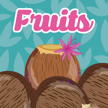 Coconuts over leaves pattern background vector illustration graphic design