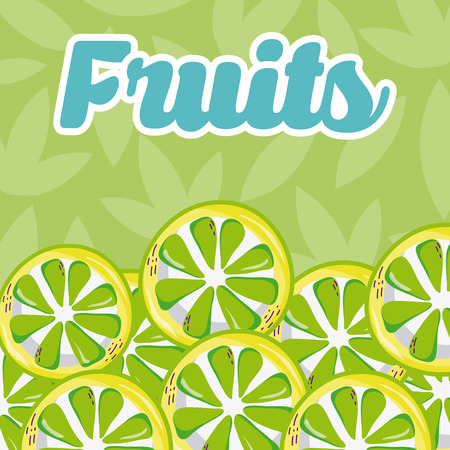 Lemons over leaves pattern background vector illustration graphic design Illustration
