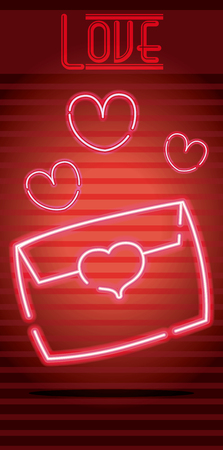 Love letter with hearts neon light sign advertising vector illustration graphic design
