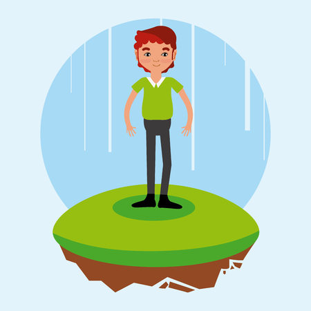 man cartoon on flotating terrain vector illustration graphic design Иллюстрация