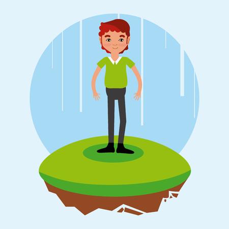 man cartoon on flotating terrain vector illustration graphic design Illustration