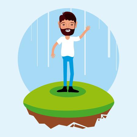 man with beard cartoon on flotating terrain vector illustration graphic design Illustration