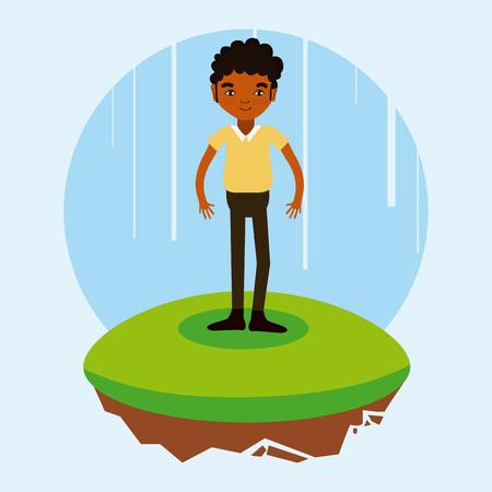Afro man cartoon on flotating terrain vector illustration graphic design