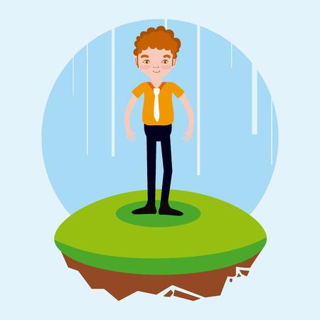 man with business suit cartoon on flotating terrain vector illustration graphic design Illustration