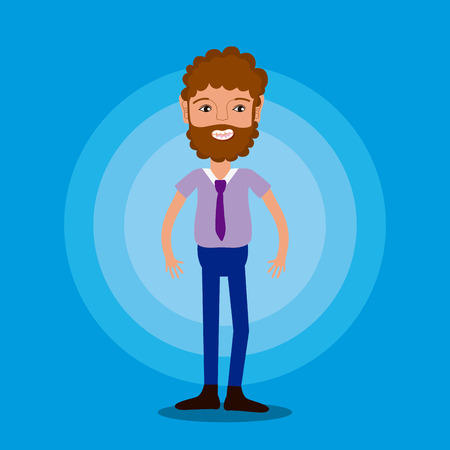 Young man with tie and beard over colorful background vector illustration graphic design