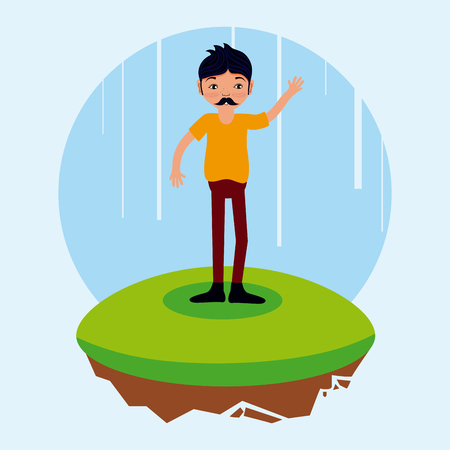 man with mustache cartoon on flotating terrain vector illustration graphic design