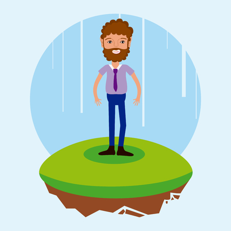 man with business suit cartoon on flotating terrain vector illustration graphic design Illusztráció