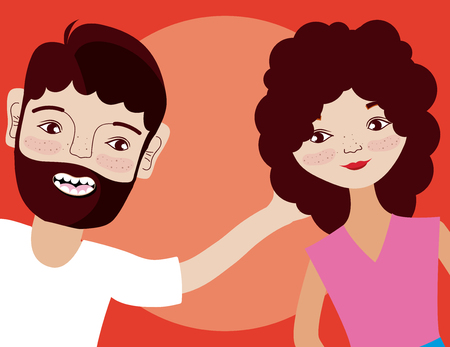 Young woman and man cartoon over colorful background vector illustration graphic design Illustration
