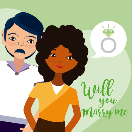 Will you marry me card with beautiful couple cartoons vector illustration graphic design Illustration