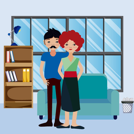Cute couple living inside house cartoons vector illustration graphic design
