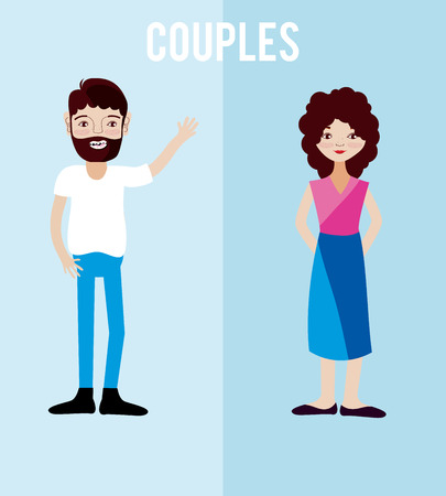Cute and lovely couples cartoons over colorful background vector illustration graphic design